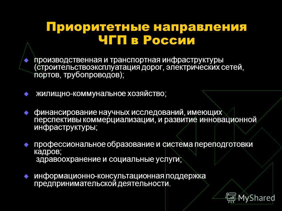 Приоритетные направления ЧГП в России производственная и транспортная инфраструктуры (строительствоэксплуатация дорог, электрических сетей, портов, трубопроводов); жилищно-коммунальное хозяйство; финансирование научных исследований, имеющих перспекти