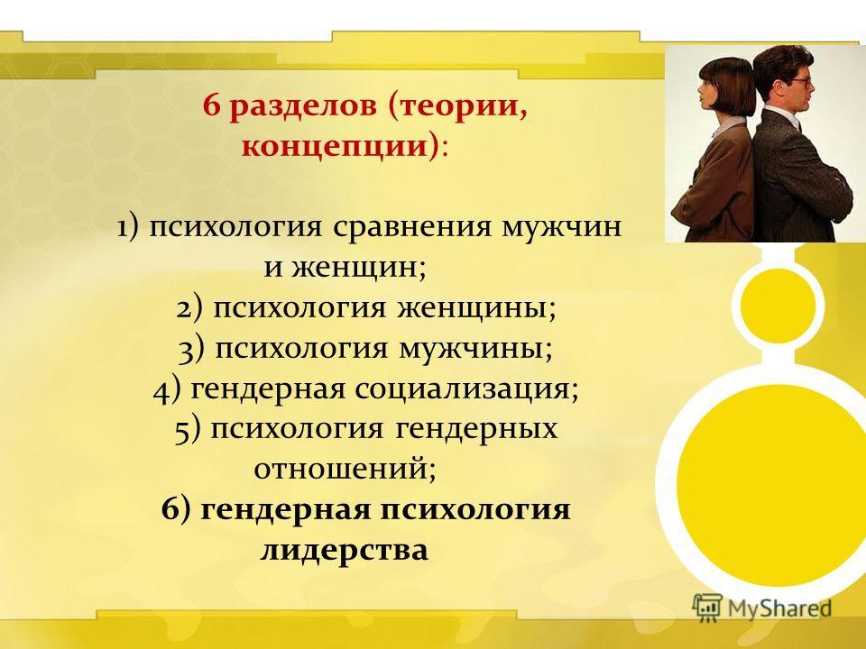 6 разделов (теории, концепции): 1) психология сравнения мужчин и женщин; 2) психология женщины; 3) психология мужчины; 4) гендерная социализация; 5) психология гендерных отношений; 6) гендерная психология лидерства