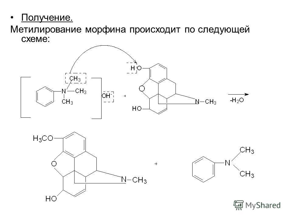 Получение. Метилирование морфина происходит по следующей схеме: