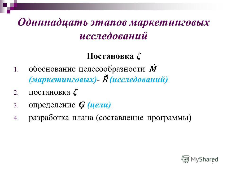 Одиннадцать этапов маркетинговых исследований Постановка ζ 1. обоснование целесообразности (маркетинговых)- Ȑ (исследований) 2. постановка ζ 3. определение Ģ (цели) 4. разработка плана (составление программы) 7