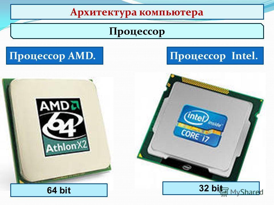 Процессор Процессор AMD.Процессор Intel. 64 bit 32 bit Архитектура компьютера