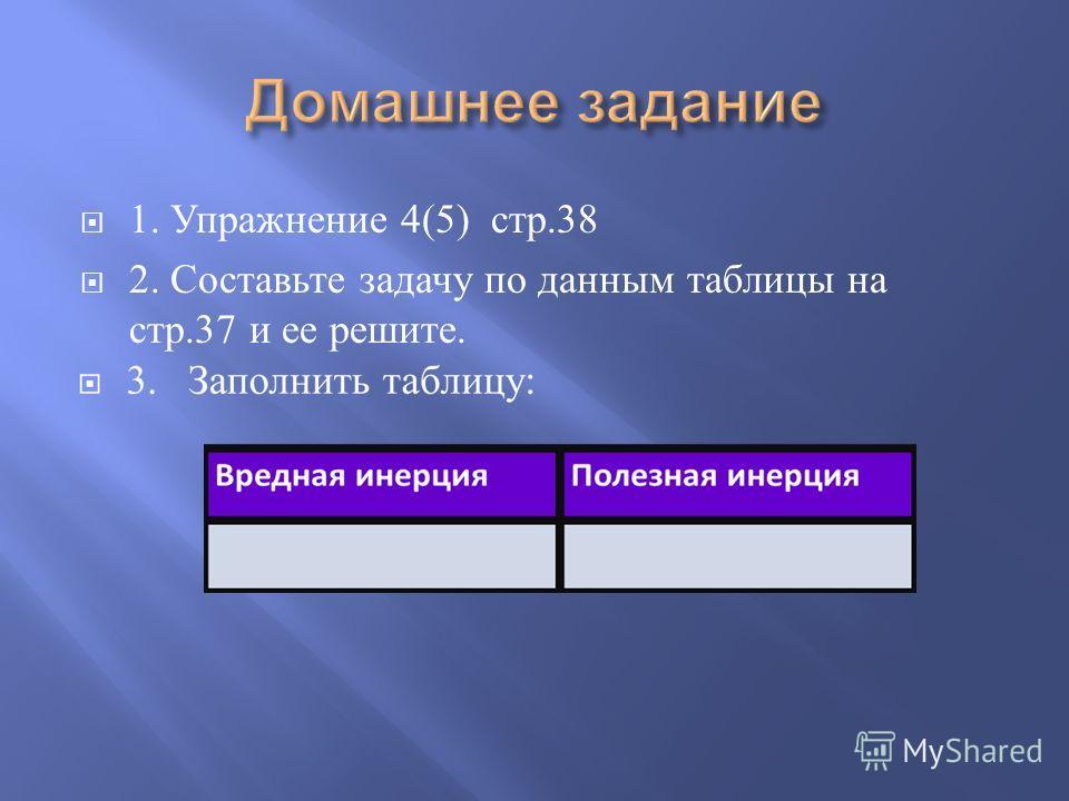 1. Упражнение 4(5) стр.38 2. Составьте задачу по данным таблицы на стр.37 и ее решите.
