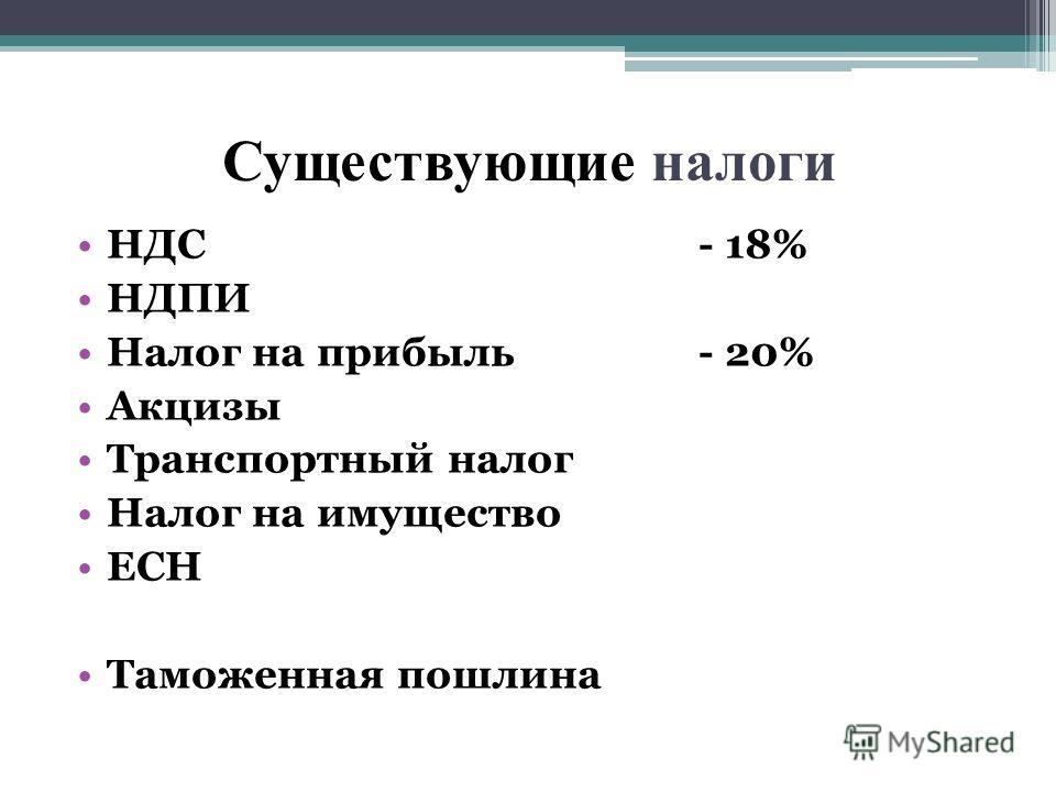 Существующие налоги НДС- 18% НДПИ Налог на прибыль- 20% Акцизы Транспортный налог Налог на имущество ЕСН Таможенная пошлина