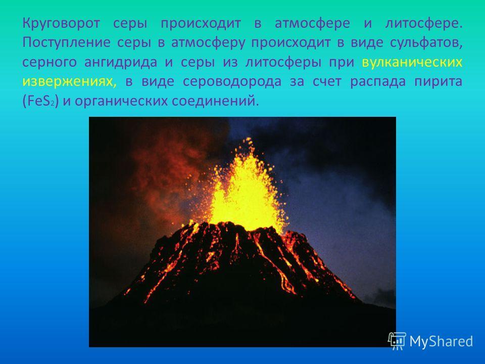 Круговорот серы происходит в атмосфере и литосфере. Поступление серы в атмосферу происходит в виде сульфатов, серного ангидрида и серы из литосферы при вулканических извержениях, в виде сероводорода за счет распада пирита (FeS 2 ) и органических соед