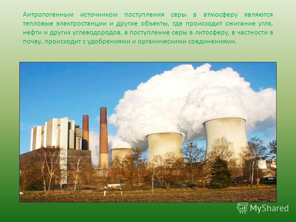 Антропогенным источником поступления серы в атмосферу являются тепловые электростанции и другие объекты, где происходит сжигание угля, нефти и других углеводородов, а поступление серы в литосферу, в частности в почву, происходит с удобрениями и орган