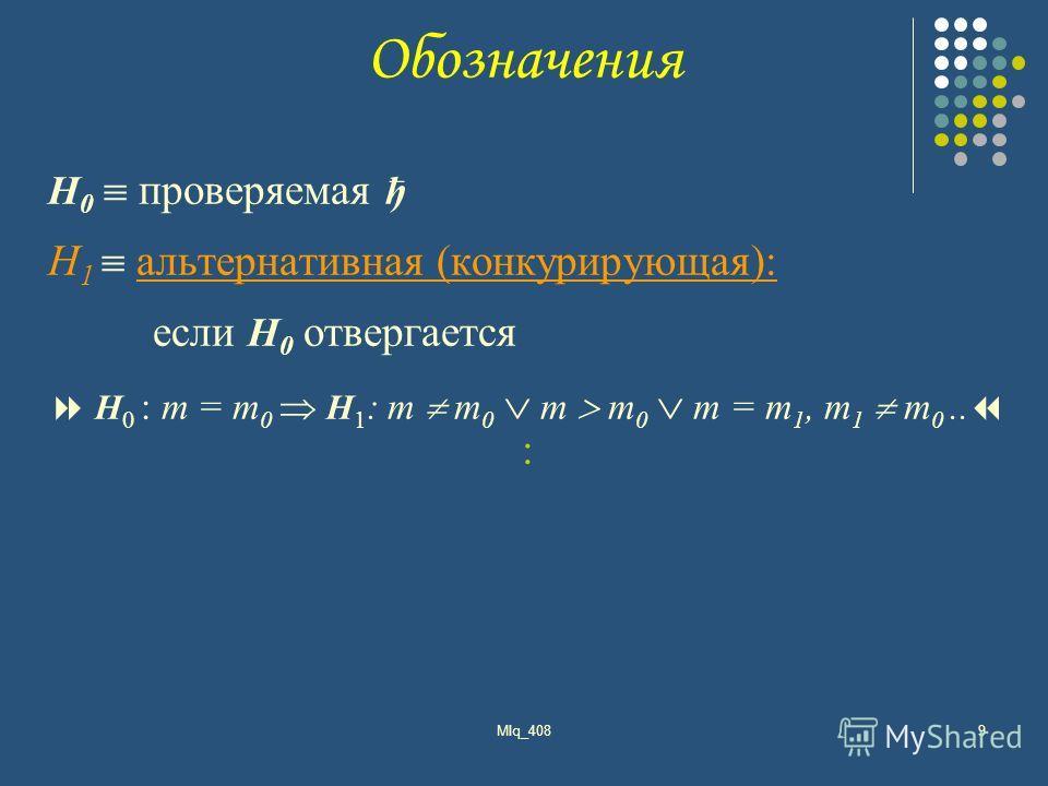 MIq_4089 H 0 проверяемая ђ H 1 альтернативная (конкурирующая): если H 0 отвергается H 0 : m = m 0 H 1 : m m 0 m m 0 m = m 1, m 1 m 0.. : Обозначения