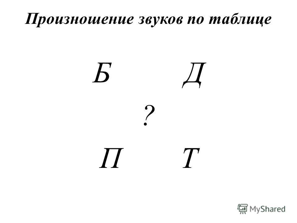 Произношение звуков по таблице Б Д ? П Т