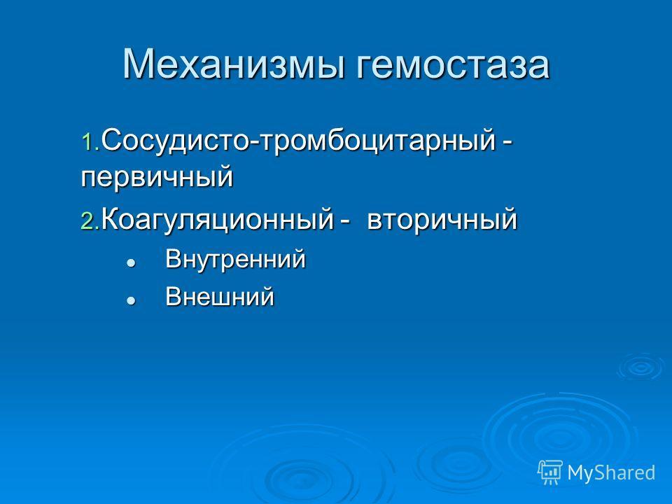 Механизмы гемостаза 1. Сосудисто-тромбоцитарный - первичный 2. Коагуляционный - вторичный Внутренний Внутренний Внешний Внешний