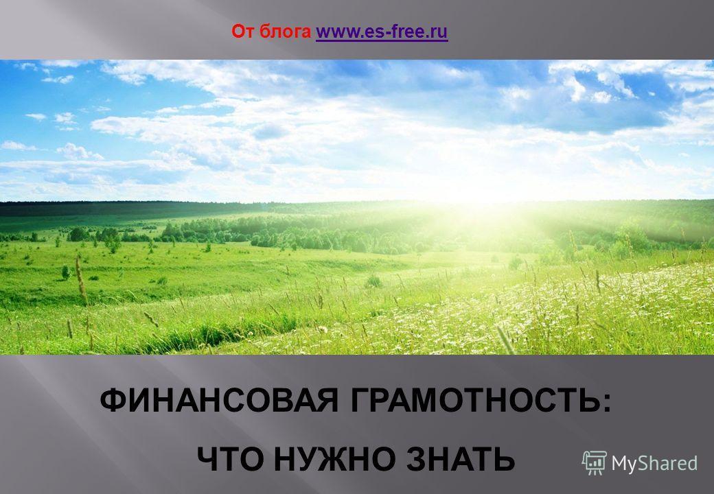 ФИНАНСОВАЯ ГРАМОТНОСТЬ: ЧТО НУЖНО ЗНАТЬ От блога www.es-free.ruwww.es-free.ru