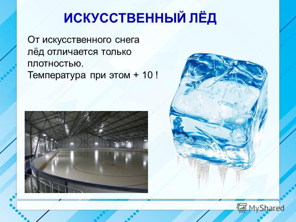ИСКУССТВЕННЫЙ ЛЁД От искусственного снега лёд отличается только плотностью. Температура при этом + 10 !