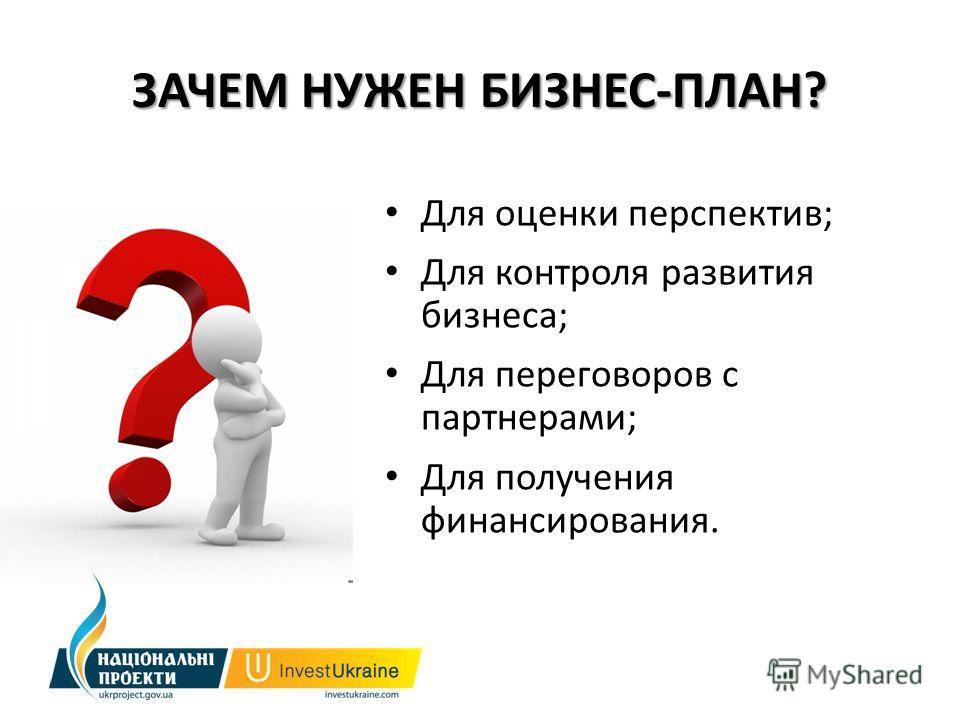ЗАЧЕМ НУЖЕН БИЗНЕС-ПЛАН? Для оценки перспектив; Для контроля развития бизнеса; Для переговоров с партнерами; Для получения финансирования.