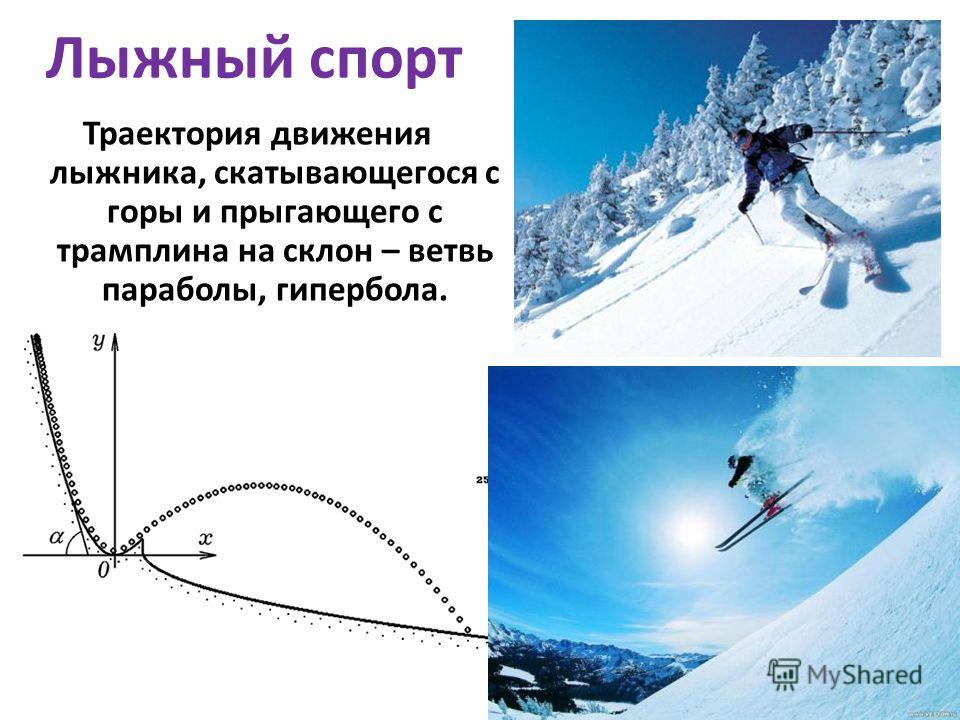 Траектория движения лыжника, скатывающегося с горы и прыгающего с трамплина на склон – ветвь параболы, гипербола. Лыжный спорт