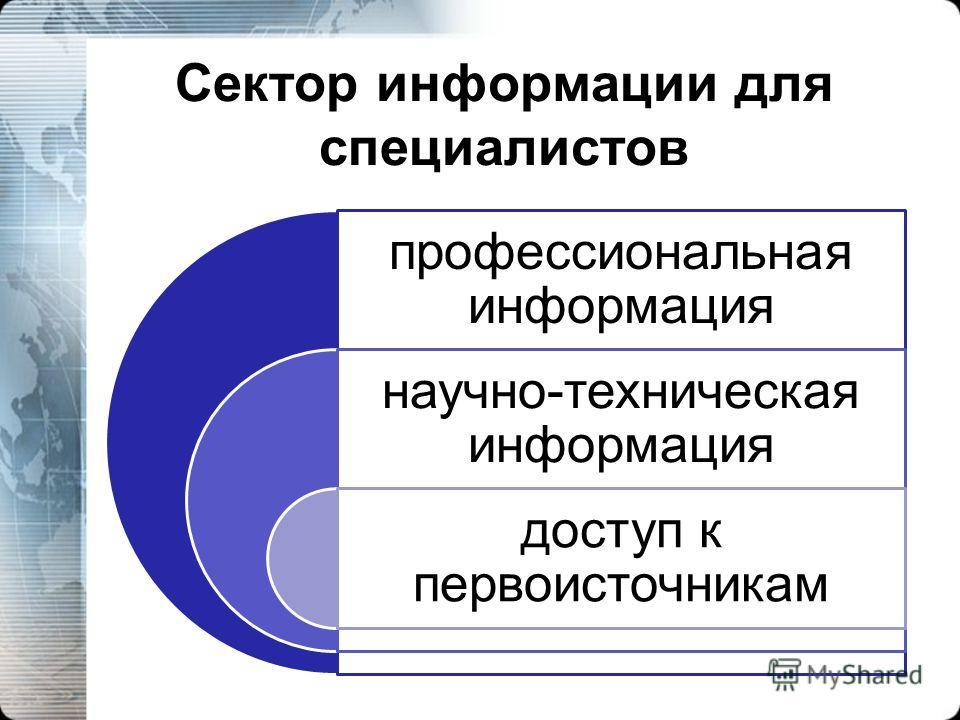 Сектор информации для специалистов профессиональная информация научно-техническая информация доступ к первоисточникам