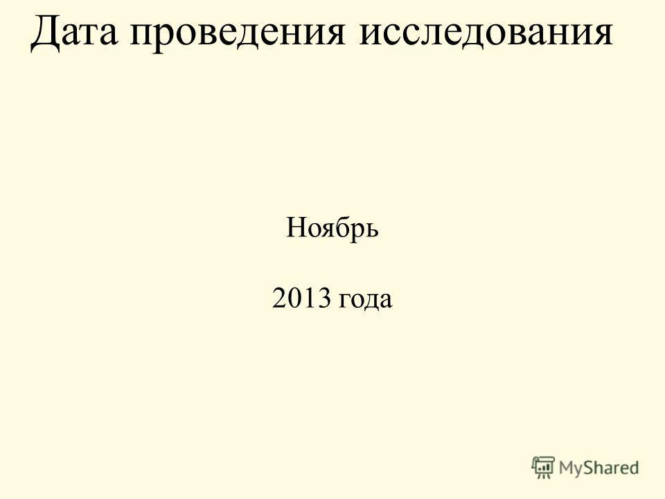Дата проведения исследования Ноябрь 2013 года