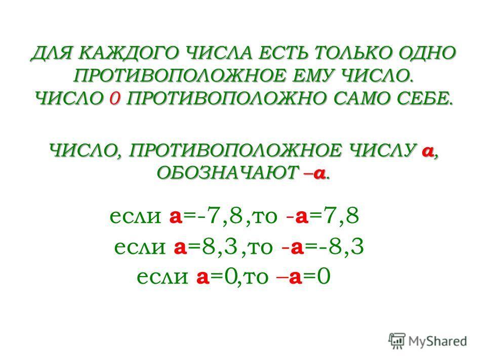 -5-5 05 ДВА ЧИСЛА, ОТЛИЧАЮЩИЕСЯ ДРУГ ОТ ДРУГА ТОЛЬКО ЗНАКАМИ, НАЗЫВАЮТ ПРОТИВОПОЛОЖНЫМИ ЧИСЛАМИ. 8=+8 -8 и 8 -2,6 и 2,6 1 4 2 - 1 4 2 и