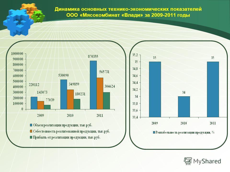 Динамика основных технико-экономических показателей ООО «Мясокомбинат «Влади» за 2009-2011 годы