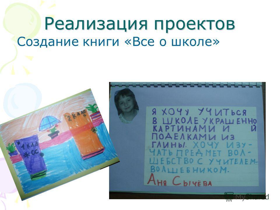 Реализация проектов Создание книги «Все о школе»