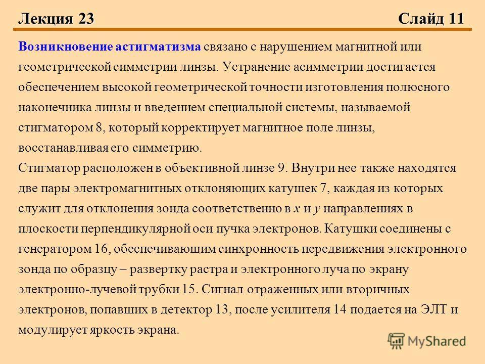 Лекция 23 Слайд 11 Возникновение астигматизма связано с нарушением магнитной или геометрической симметрии линзы. Устранение асимметрии достигается обеспечением высокой геометрической точности изготовления полюсного наконечника линзы и введением специ