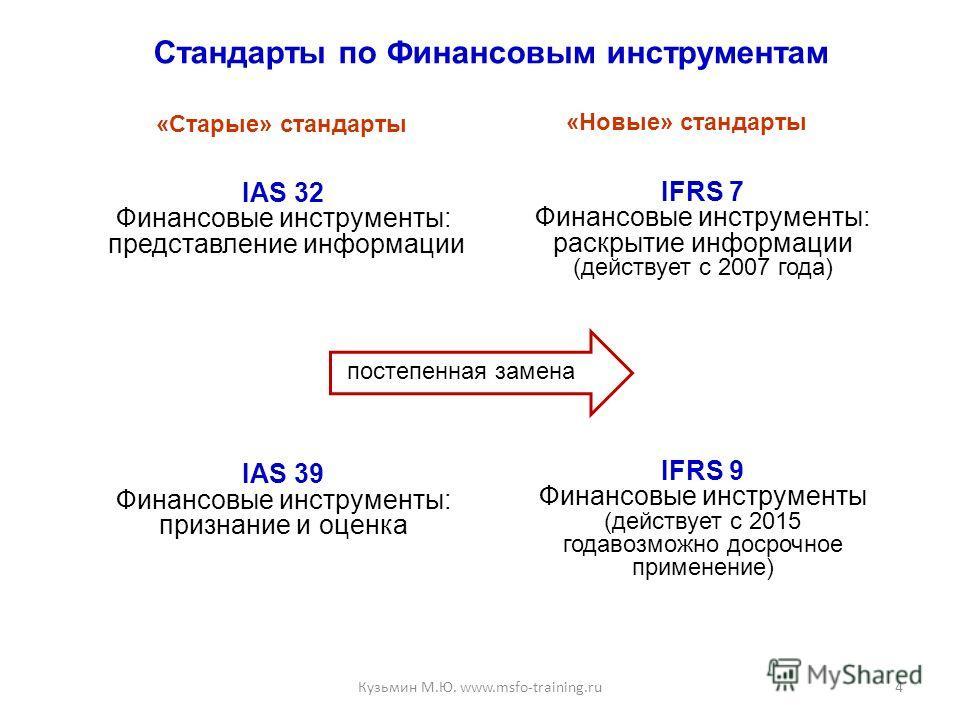 Стандарты по Финансовым инструментам IAS 32 Финансовые инструменты: представление информации IAS 39 Финансовые инструменты: признание и оценка IFRS 7 Финансовые инструменты: раскрытие информации (действует с 2007 года) IFRS 9 Финансовые инструменты (