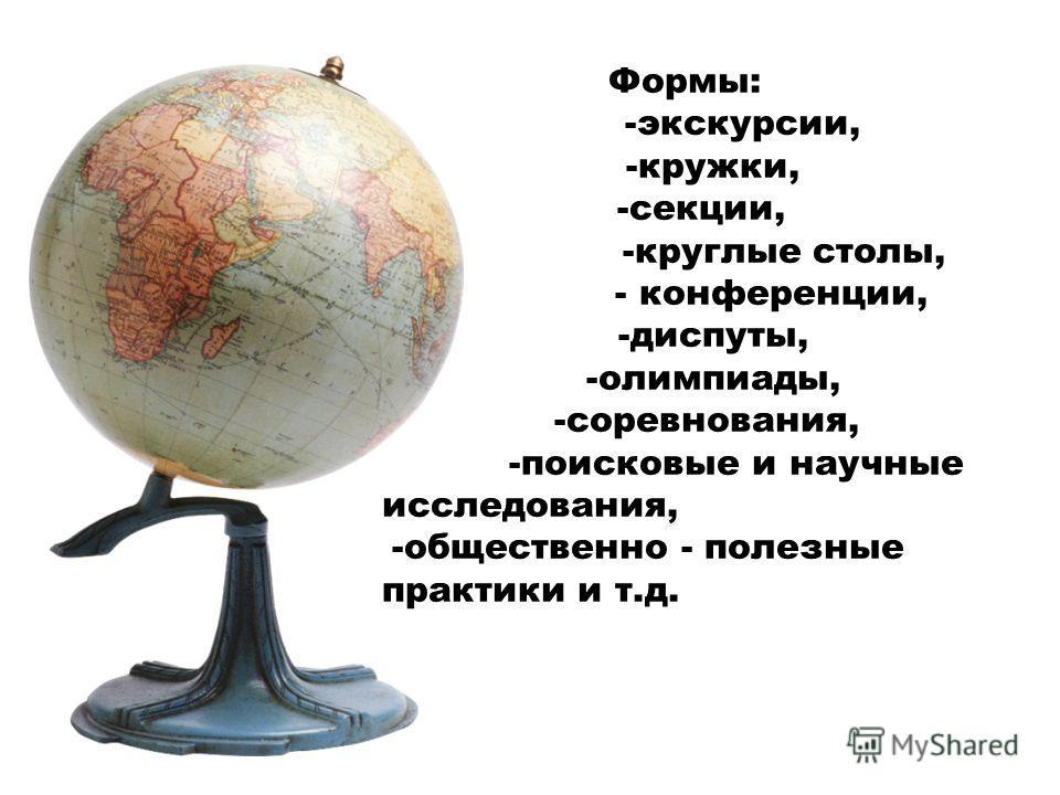 Формы: -экскурсии, -кружки, -секции, -круглые столы, - конференции, -диспуты, -олимпиады, -соревнования, -поисковые и научные исследования, -общественно - полезные практики и т.д.
