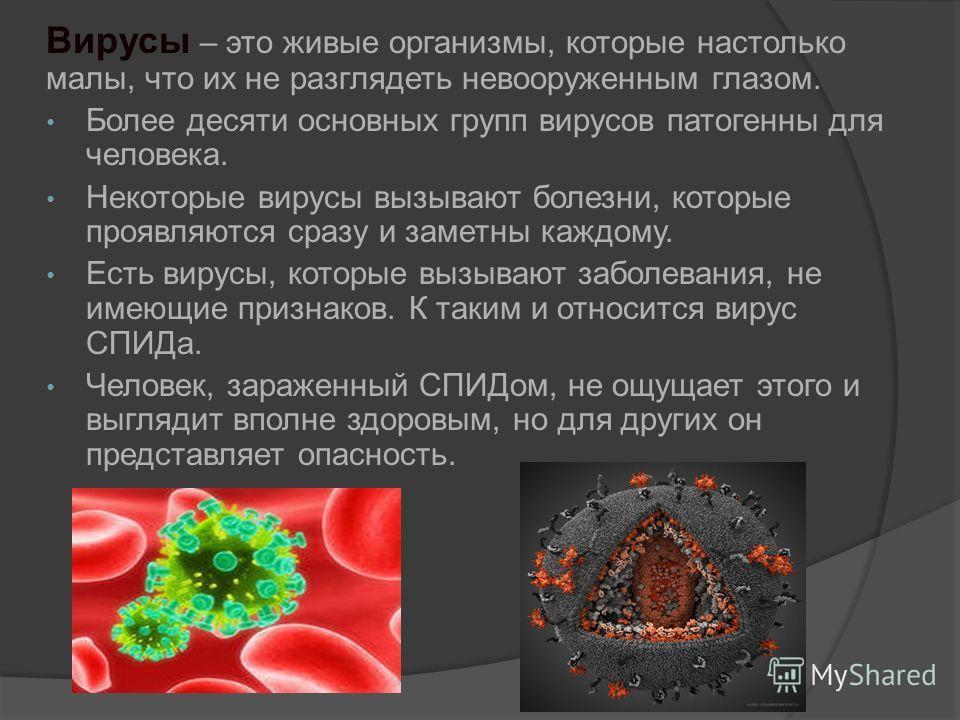 Вирусы – это живые организмы, которые настолько малы, что их не разглядеть невооруженным глазом. Более десяти основных групп вирусов патогенны для человека. Некоторые вирусы вызывают болезни, которые проявляются сразу и заметны каждому. Есть вирусы,