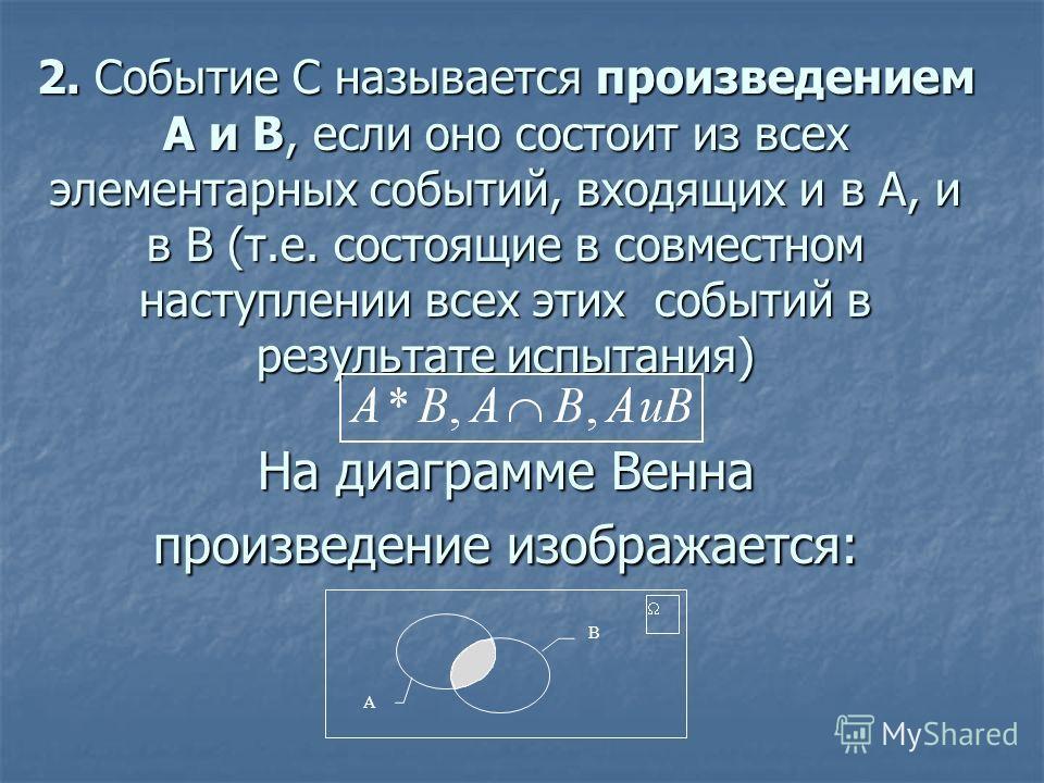 2. Событие C называется произведением A и B, если оно состоит из всех элементарных событий, входящих и в A, и в B (т.е. состоящие в совместном наступлении всех этих событий в результате испытания) На диаграмме Венна произведение изображается: B A