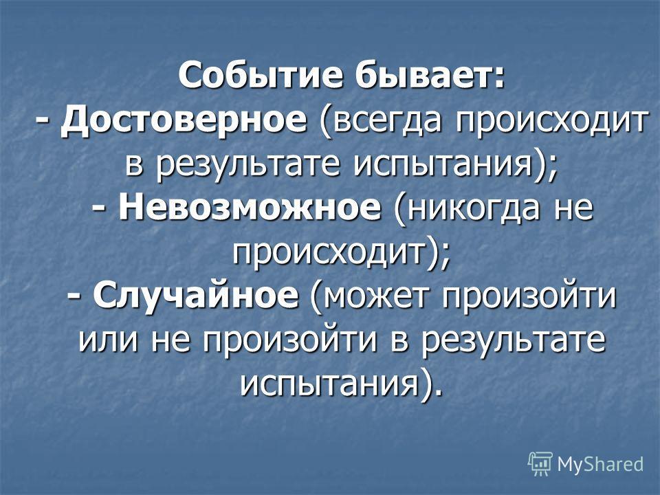 Событие бывает: - Достоверное (всегда происходит в результате испытания); - Невозможное (никогда не происходит); - Случайное (может произойти или не произойти в результате испытания).