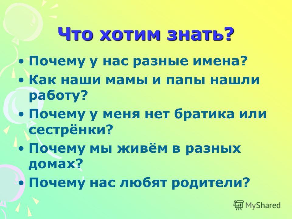 Что хотим знать? Почему у нас разные имена? Как наши мамы и папы нашли работу? Почему у меня нет братика или сестрёнки? Почему мы живём в разных домах? Почему нас любят родители?