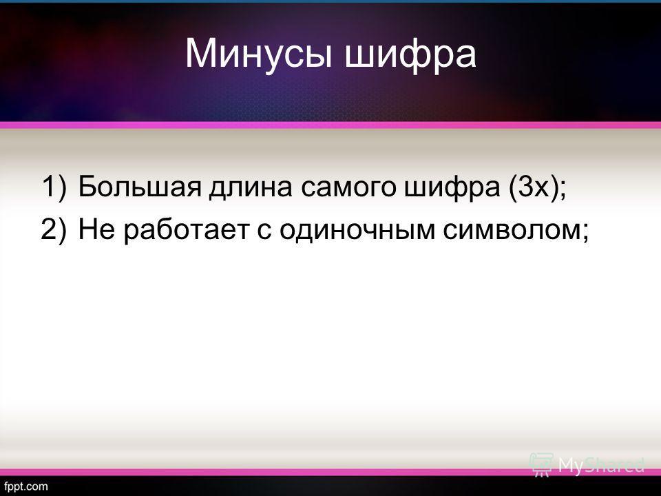 Минусы шифра 1)Большая длина самого шифра (3х); 2)Не работает с одиночным символом;