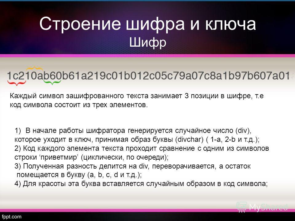 Строение шифра и ключа Шифр Каждый символ зашифрованного текста занимает 3 позиции в шифре, т.е код символа состоит из трех элементов. 1)В начале работы шифратора генерируется случайное число (div), которое уходит в ключ, принимая образ буквы (divcha