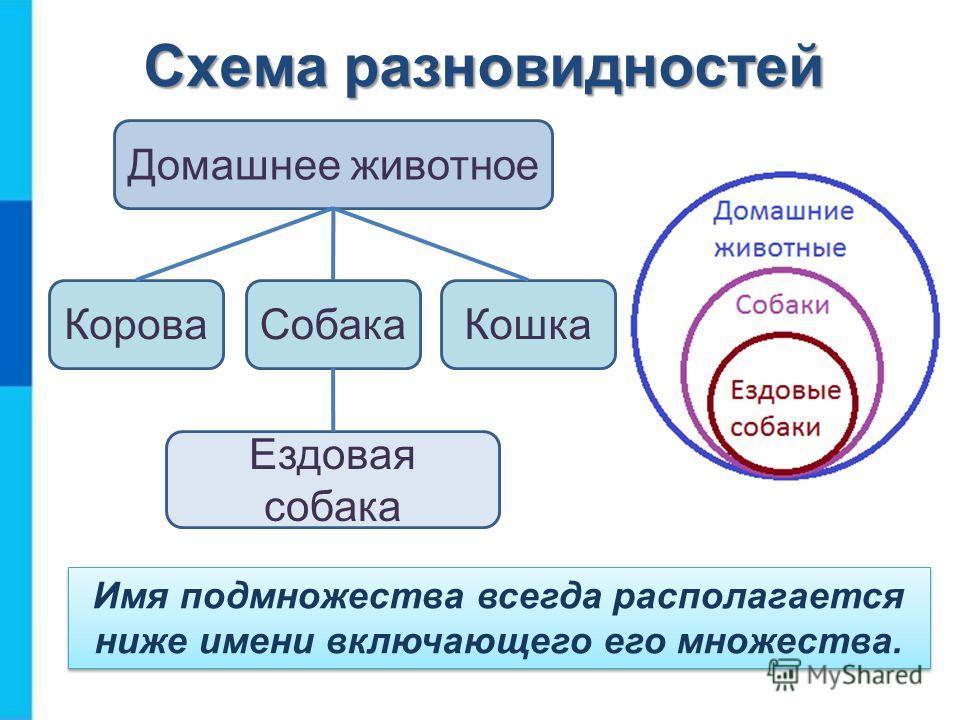 Схема разновидностей Домашнее животное КороваСобакаКошка Ездовая собака Имя подмножества всегда располагается ниже имени включающего его множества.