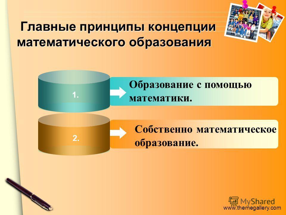 www.themegallery.com Образование с помощью математики. Собственно математическое образование. Главные принципы концепции математического образования 1. 2.