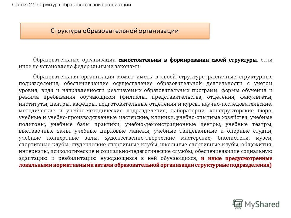 Статья 27. Структура образовательной организации Структура образовательной организации