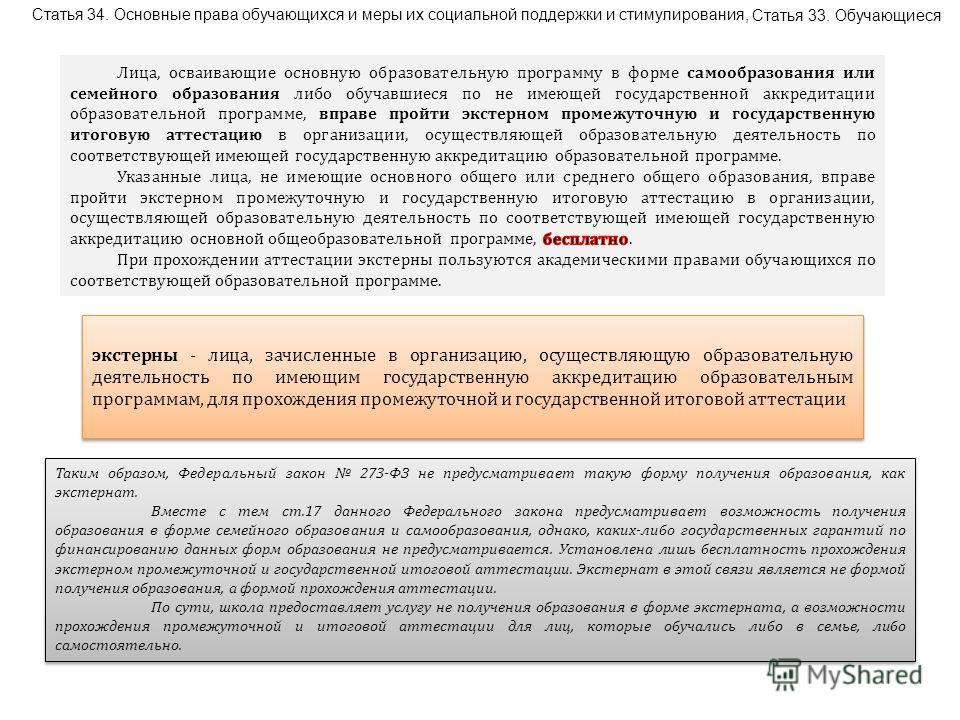 Статья 34. Основные права обучающихся и меры их социальной поддержки и стимулирования, Статья 33. Обучающиеся экстерны - лица, зачисленные в организацию, осуществляющую образовательную деятельность по имеющим государственную аккредитацию образователь
