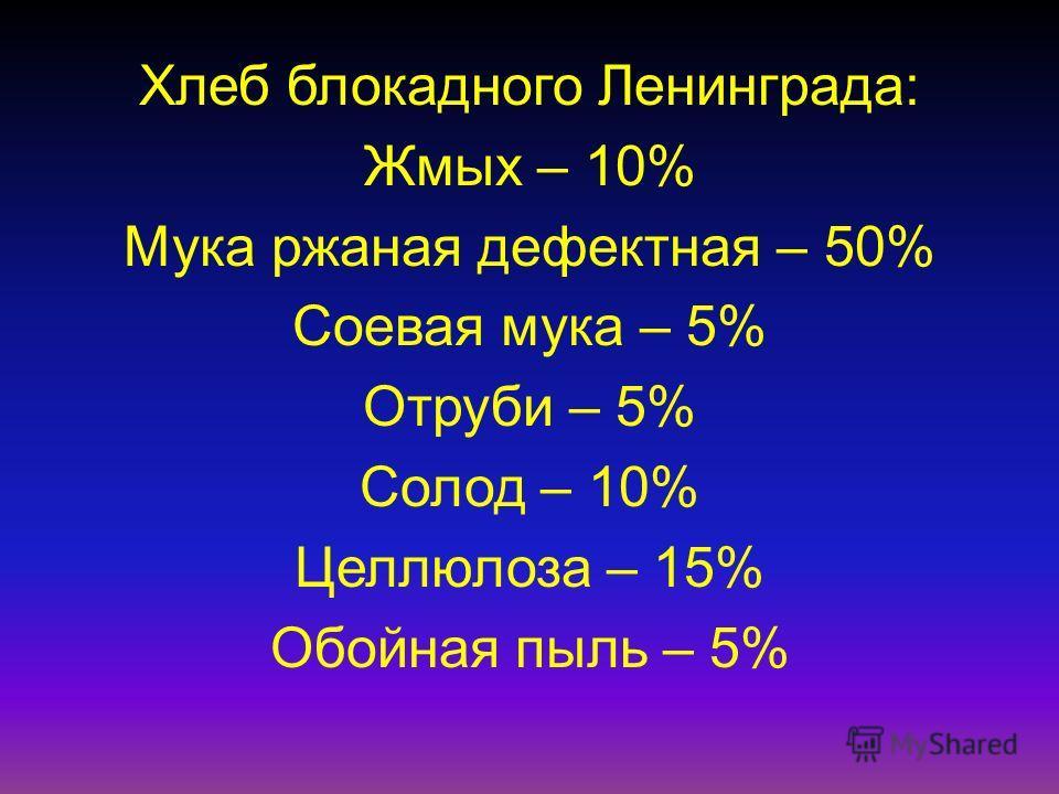 Хлеб блокадного Ленинграда: Жмых – 10% Мука ржаная дефектная – 50% Соевая мука – 5% Отруби – 5% Солод – 10% Целлюлоза – 15% Обойная пыль – 5%