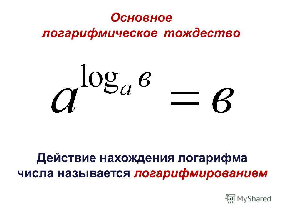 Основное логарифмическое тождество Действие нахождения логарифма числа называется логарифмированием