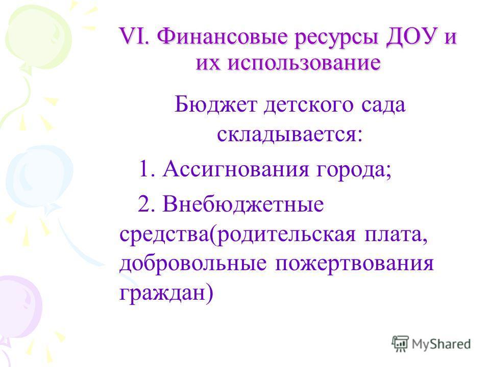 VI. Финансовые ресурсы ДОУ и их использование Бюджет детского сада складывается: 1. Ассигнования города; 2. Внебюджетные средства(родительская плата, добровольные пожертвования граждан)