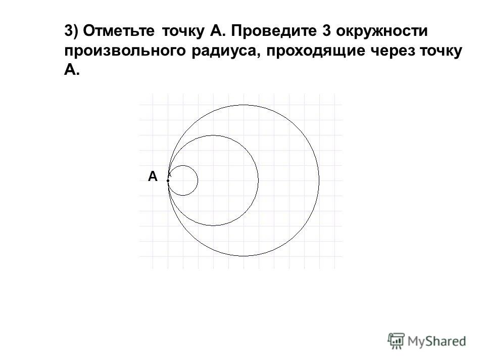 3) Отметьте точку А. Проведите 3 окружности произвольного радиуса, проходящие через точку А. А