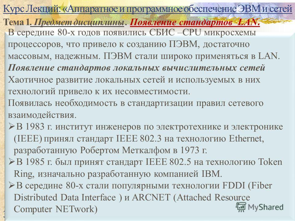 Курс Лекций: «Аппаратное и программное обеспечение ЭВМ и сетей Тема 1. Предмет дисциплины. Появление стандартов LAN. 34 В середине 80-х годов появились СБИС –CPU микросхемы процессоров, что привело к созданию ПЭВМ, достаточно массовым, надежным. ПЭВМ