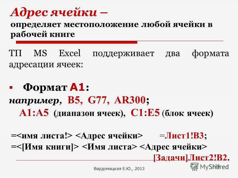 Адрес ячейки – определяет местоположение любой ячейки в рабочей книге ТП MS Excel поддерживает два формата адресации ячеек: Формат A1 : например, B5, G77, AR300 ; А1:А5 (диапазон ячеек), C1:Е5 (блок ячеек) = =Лист1!В3; = [Задачи]Лист2!B2. Вардомацкая