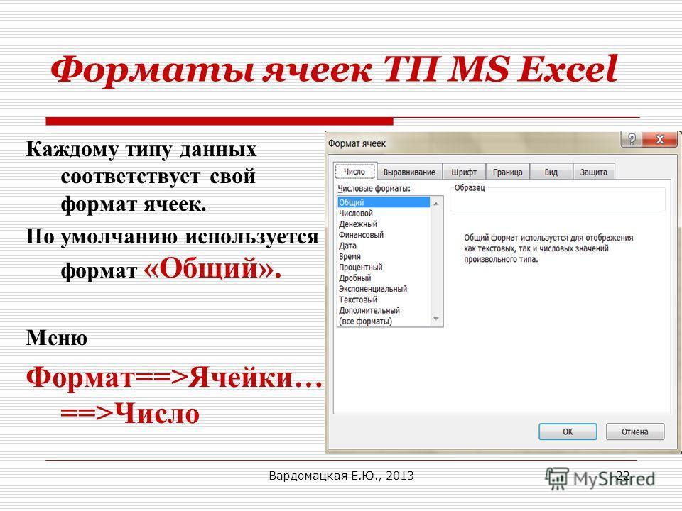 Форматы ячеек ТП MS Excel Каждому типу данных соответствует свой формат ячеек. По умолчанию используется формат «Общий». Меню Формат==>Ячейки… ==>Число Вардомацкая Е.Ю., 201322