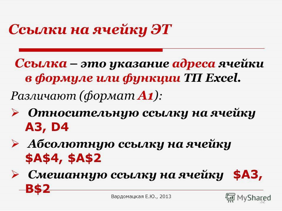 Ссылки на ячейку ЭТ Cсылка – это указание адреса ячейки в формуле или функции ТП Excel. Различают (формат А1) : Относительную ссылку на ячейку A3, D4 Абсолютную ссылку на ячейку $A$4, $A$2 Смешанную ссылку на ячейку $A3, B$2 32 Вардомацкая Е.Ю., 2013