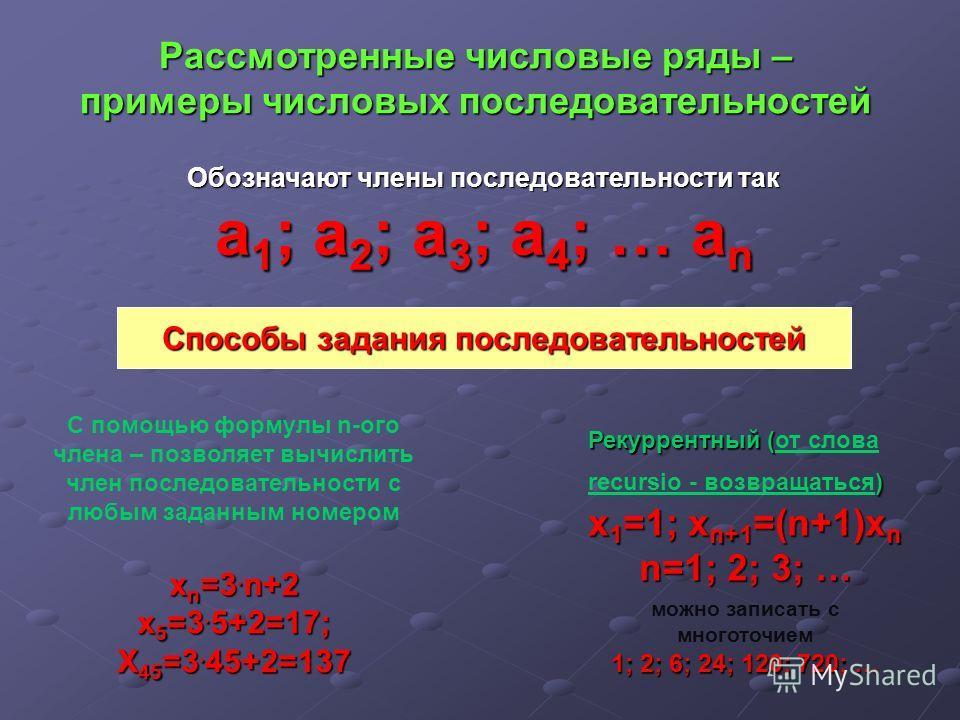 Рассмотренные числовые ряды – примеры числовых последовательностей Обозначают члены последовательности так а1; а2; а3; а4; … аn Способы задания последовательностей С помощью формулы n-ого члена – позволяет вычислить член последовательности с любым за