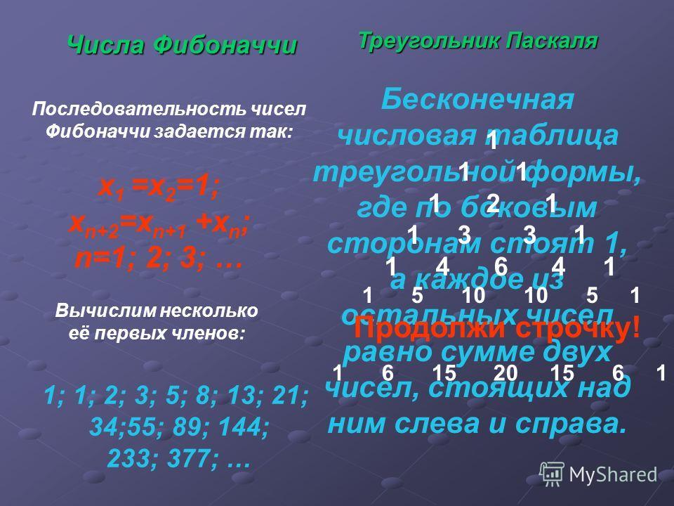 Числа Фибоначчи х 1 =х 2 =1; х n+2 =x n+1 +x n ; n=1; 2; 3; … Последовательность чисел Фибоначчи задается так: Вычислим несколько её первых членов: 1; 1; 2; 3; 5; 8; 13; 21; 34;55; 89; 144; 233; 377; … Треугольник Паскаля Бесконечная числовая таблица