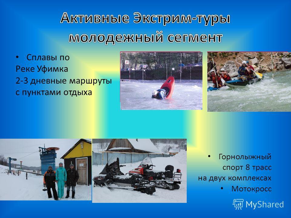 Сплавы по Реке Уфимка 2-3 дневные маршруты с пунктами отдыха Горнолыжный спорт 8 трасс на двух комплексах Мотокросс