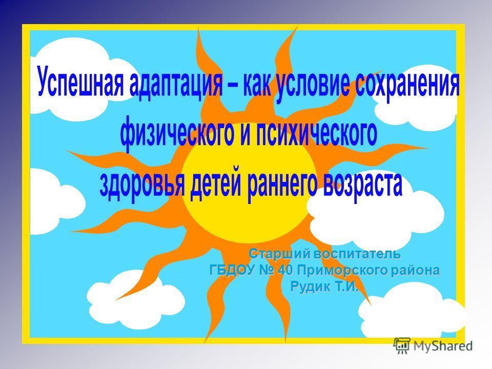 Старший воспитатель ГБДОУ 40 Приморского района Рудик Т.И.