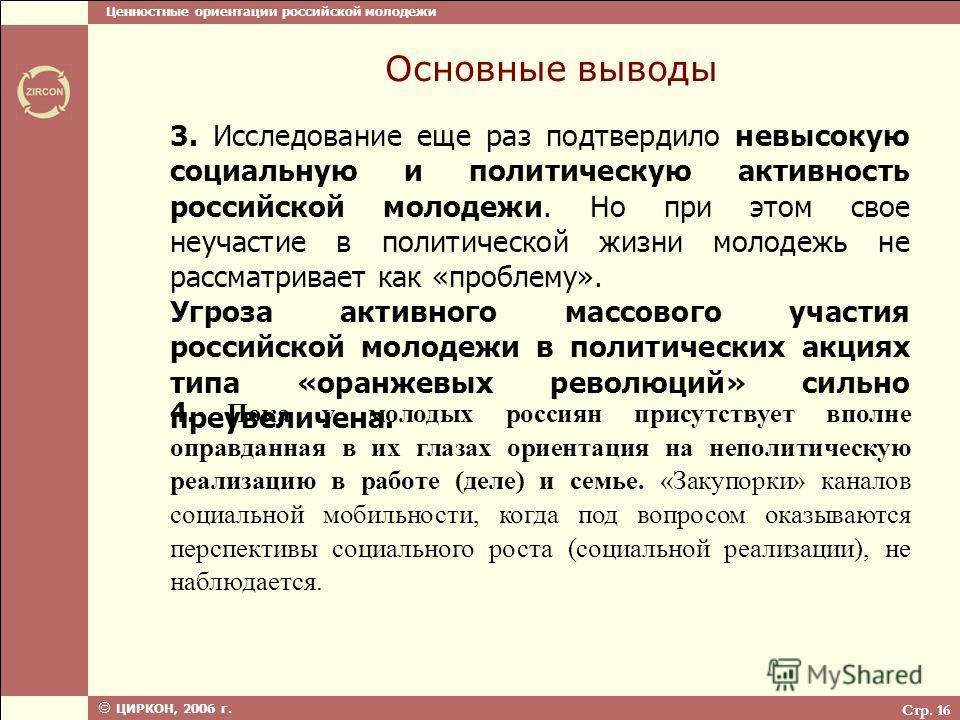 Ценностные ориентации российской молодежи ЦИРКОН, 2006 г. Стр. 16 Основные выводы 3. Исследование еще раз подтвердило невысокую социальную и политическую активность российской молодежи. Но при этом свое неучастие в политической жизни молодежь не расс
