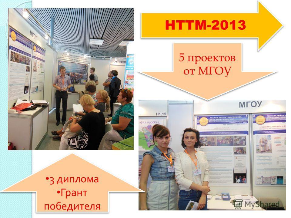 НТТМ-2013 5 проектов от МГОУ 3 диплома Грант победителя 3 диплома Грант победителя
