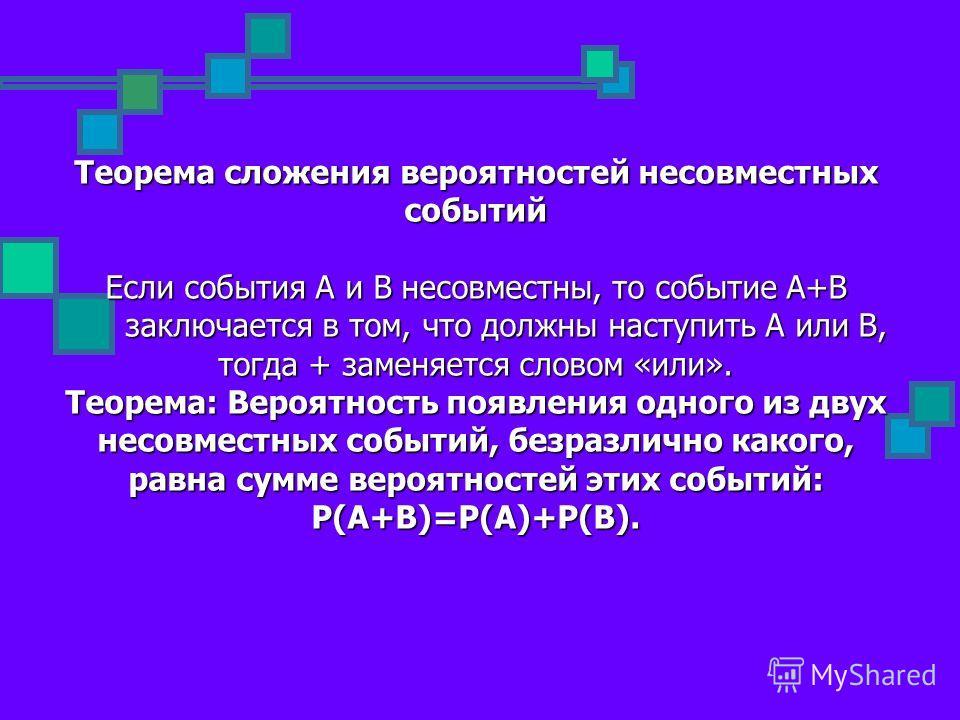 Теорема сложения вероятностей несовместных событий Если события А и В несовместны, то событие А+В заключается в том, что должны наступить А или В, тогда + заменяется словом «или». Теорема: Вероятность появления одного из двух несовместных событий, бе