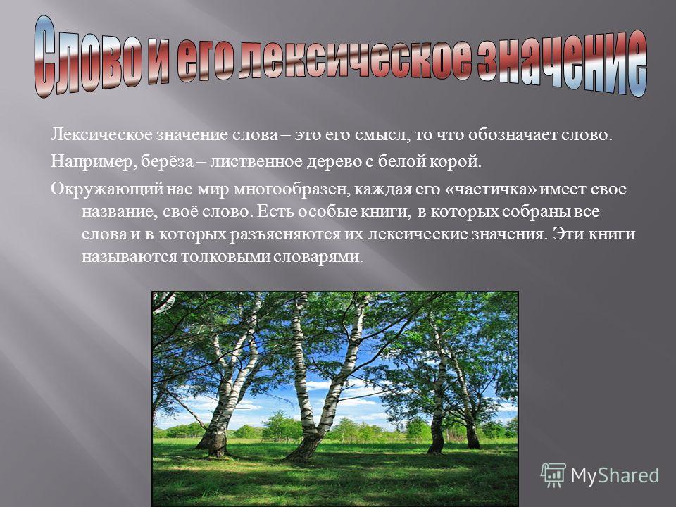 Лексическое значение слова – это его смысл, то что обозначает слово. Например, берёза – лиственное дерево с белой корой. Окружающий нас мир многообразен, каждая его « частичка » имеет свое название, своё слово. Есть особые книги, в которых собраны вс